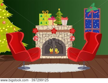 Fireplace Decoration For Christmas Holiday Home Vector. Window With Snowflakes And Blizzard Outdoors