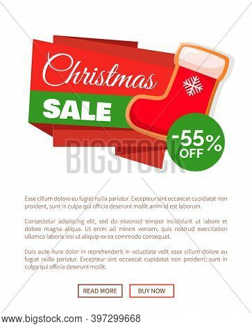 Christmas Sale Label Red Santa Stocking And 55 Percent Off Discount Price Tag On Web Poster With Pac