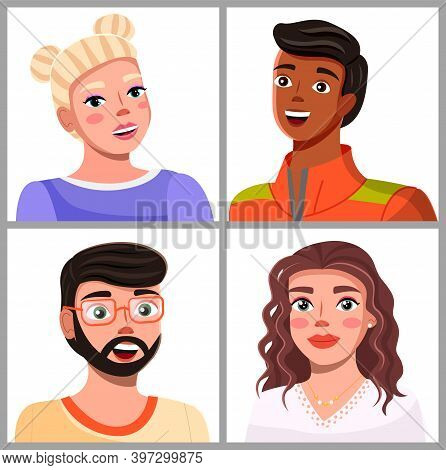 Avatars Of Young People, Cartoon Characters Portraits, Young Bearded Guy, Pretty Blonde Girl With Ha