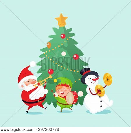 Merry Christmas Winter Holiday Celebration Characters Singing And Having Fun Vector. Santa Claus And