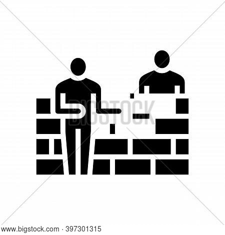 Builders Building Wall Glyph Icon Vector. Builders Building Wall Sign. Isolated Contour Symbol Black