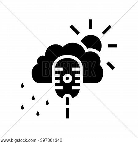 Weather Radio Channel Glyph Icon Vector. Weather Radio Channel Sign. Isolated Contour Symbol Black I