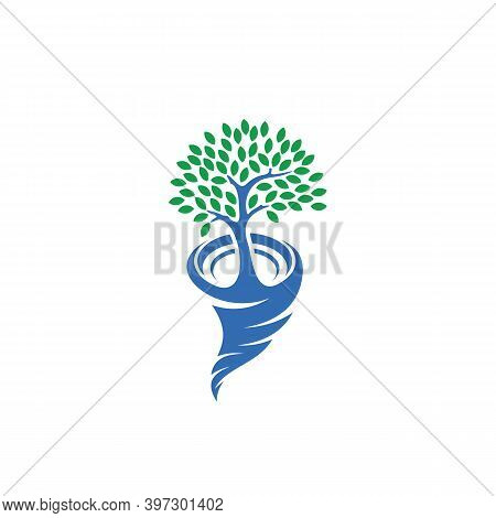 Tree With Tornado Logo Vector Template, Creative Tornado Logo Design Concepts, Illustration, Icon Sy