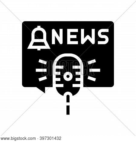 News On Radio Channel Glyph Icon Vector. News On Radio Channel Sign. Isolated Contour Symbol Black I