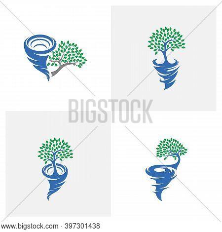 Set Of Tree With Tornado Logo Vector Template, Creative Tornado Logo Design Concepts, Illustration,