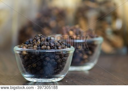 View Of Black Peppercorns In A Bowl. Black Pepper Boost Immunity Naturally. Selective Focus.