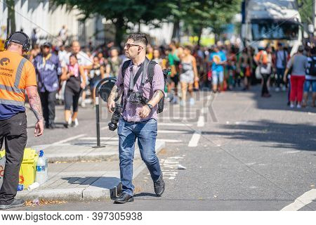 London, Uk , August 25, 2019. Professional Photographer Working At Notting Hill Carnival.