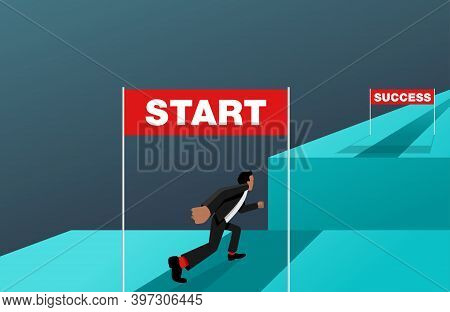 Business Strategy Start Up - Working Career Way From Start To Success (wealth) But With Abyss Obstac