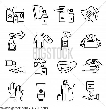 Disinfection, Cleaning, Sanification Thin Line Icons Set Isolated On White. Antiseptic, Cleanser, Gl