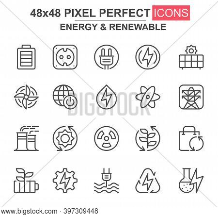Energy And Renewable Thin Line Icon Set. Power Plant, Nuclear Energy, Wind Turbine, Socket And Plug