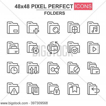 Folders Thin Line Icon Set. Add, Delete, Archive, Media Sources, Security, Search, Lock, Transfer, C