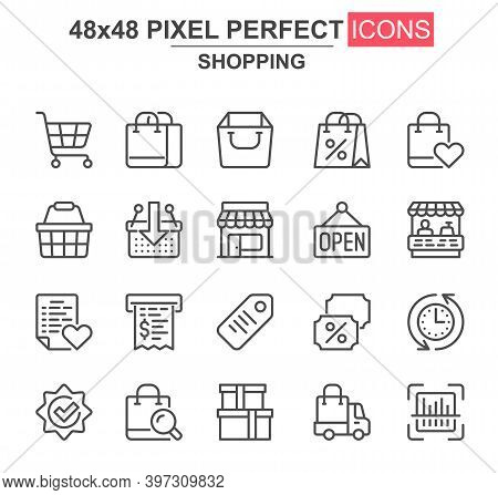 Shopping Thin Line Icon Set. Supermarket Basket, Trolley, Open Sign, Store, Discount Label, Bill, Ba