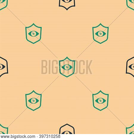 Green And Black Shield Eye Scan Icon Isolated Seamless Pattern On Beige Background. Scanning Eye. Se