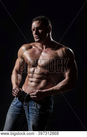 Muscular Torso Close Up. Sensual Man With Naked Strong Ab. Strong Brutal Guy. Portrait Of Strong Hea