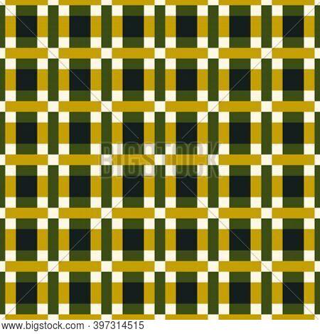 Checks, Squares, Rectangles Ornament. Seamless Pattern. Folk Wallpaper. Geometric Background. Tribal