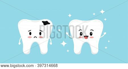 Cute White Tooth And Sad Tooth With Decay Before After Icon Set. Teeth Dental Caries Treatment Conce