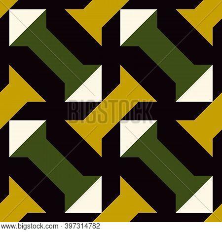 Triangles, Columns Seamless Pattern. Geometric Ornament. Folk Background. Geometric Wallpaper. Triba