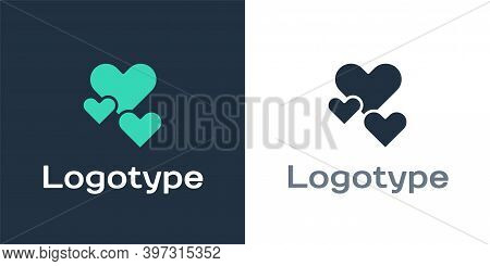 Logotype Heart Icon Isolated On White Background. Romantic Symbol Linked, Join, Passion And Wedding.