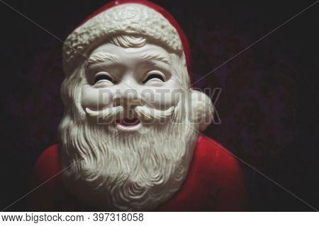 Vintage plastic Santa Claus Christmas decor, vintage style photograph