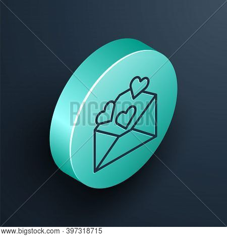 Isometric Line Envelope With Valentine Heart Icon Isolated On Black Background. Message Love. Letter