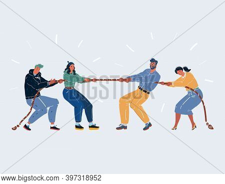 Vector Illustration Of Competition Two Vs Two. Man And Woman Play Tug Of War On White Background.