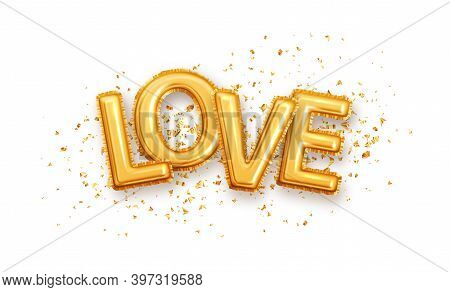 Shine Gold Glossy Metallic Balloons Love Letter. Golden Characters Balloons On The Golden Glitter Is
