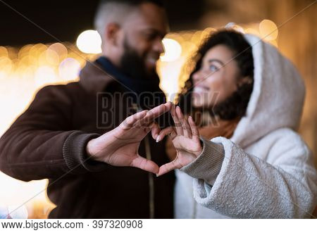 Love, Affection And Bonding Concept. Closeup Outdoor Portrait Of Happy Smiling Black African America