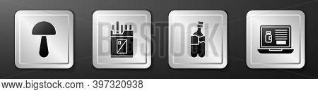 Set Psilocybin Mushroom, Open Cigarettes Pack Box, Bong For Smoking Marijuana And Buying Drugs Onlin