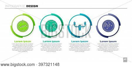 Set Compass, Worldwide, Aircraft Steering Helm And Radar With Targets On Monitor. Business Infograph