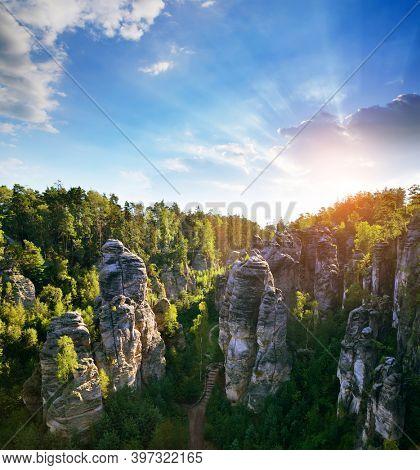 Sandstone rock in Prachovske skaly, Bohemian Paradise (Cesky Raj), Czechia