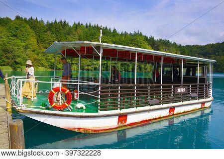 PLITVICE, CROATIA, 18 SEPTMEBER, 2020: Touristic ship in Plitvice National Park, Croatia, Europe