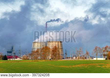 Thermal Power Plant On A Clear Sunny Day