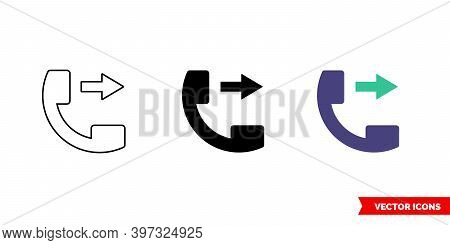 Outgoing Phone Call Icon Of 3 Types Color, Black And White, Outline. Isolated Vector Sign Symbol.