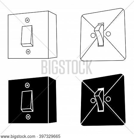 Electric Wall Mounted Switches. Power Off In Glyph Style, Sign For Mobile Concept And Web Design. Re