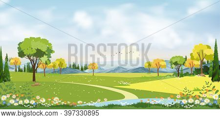Blue Sky With Cloud, Lake And Farmland In Countryside On Spring,village With Grass Land, Skyline Wit