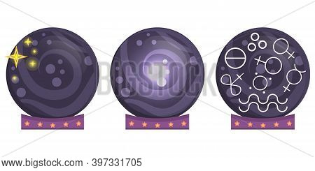A Set Of Prediction Balls With A Set Of Symbols And Signs From Astronomy And Astrology. A Variety Of