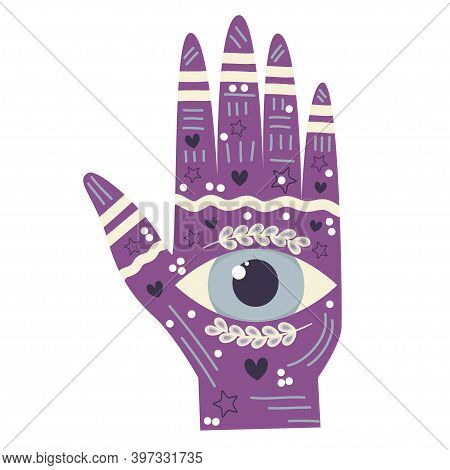 The Hand Of A Philosopher, The Hand With The Eye Of Providence. Palm Reading And Palm Reading, See T