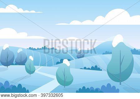 Christmas Snow Landscape In Winter, Snowy Fields On Hills