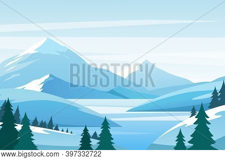 Christmas Winter Mountain Landscape, Snowy Rocks And Hills