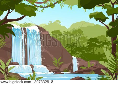 Waterfall Jungle Landscape With Rock Cascade, River Streams
