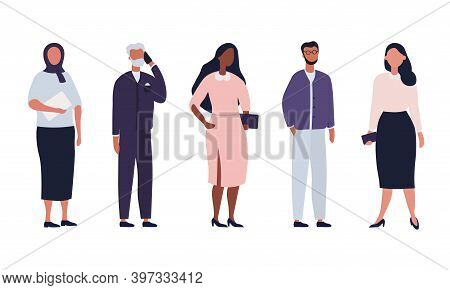 Diverse Group Of Business People, Entrepreneurs Or Office Workers Isolated On White Background. Mult