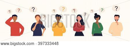 Collection Of Diverse Thoughtful People. Six Smart Men And Women Thinking Or Solving Problem. Set Of