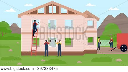 Professional Builders Constructing Modern Private House. Workers Putting Windows On House. Handymen