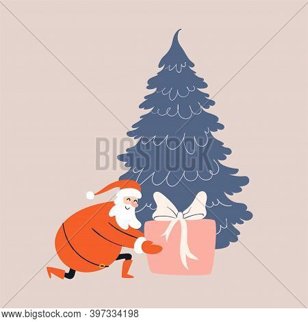 Cartoon Santa Claus Carefully Places A Large Gift Under The Christmas Tree. Smiling Santa Knelt Down