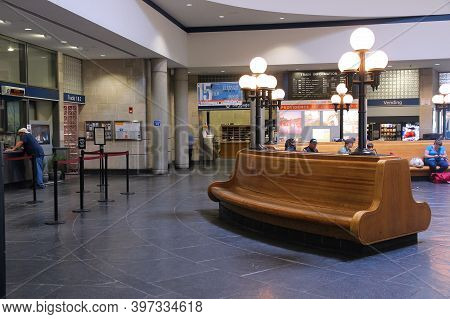 Providence, Usa - June 8, 2013: People Visit Railway Station In Providence. Providence Is The Capita