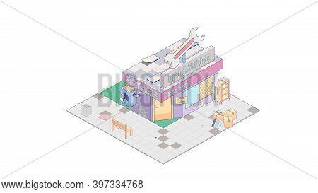 Isometric Hardware Shop On White Background. Modern Hardware Shop In Isometric Projection.
