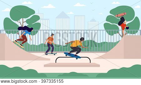 Happy Teenage Boys And Girls Or Skateboarders Riding Skateboards At Skatepark. Young Men And Women S