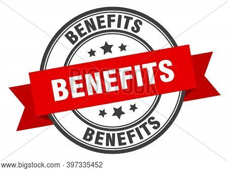 Benefits Label. Benefits Red Band Sign. Benefits