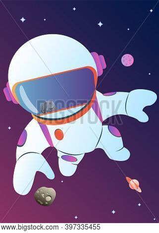 Astronaut Exploring Outer Space. Cosmonaut In Spacesuit Performing Extravehicular Activity Or Spacew