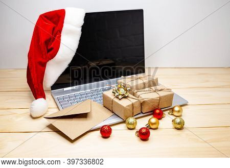 Online Shopping At Home. Big Sale In Winter Holiday. Using Credit Card To Internet Shop. Sales And D